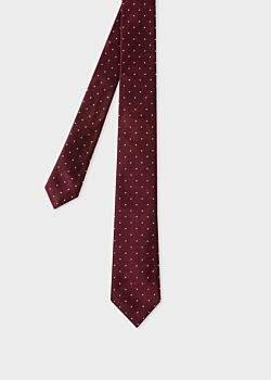 Men's Burgundy Polka Dot Narrow Silk Tie