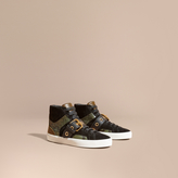 Burberry Buckle Detail Leather and Snakeskin High-top Trainers
