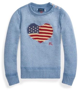 Ralph Lauren Flag-Heart Cotton Jumper