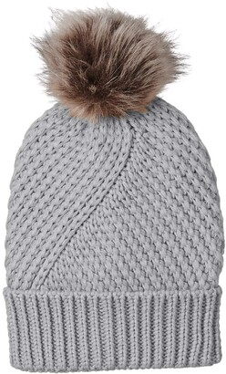 Urban Outfitters UNDER ZERO Women's Winter Grey Knitted Hat with Faux Fur Pompom Ball