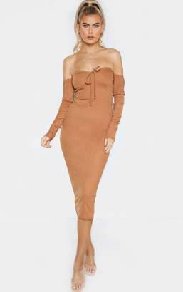 PrettyLittleThing Tall Camel Bardot Bow Detail Long Sleeve Dress