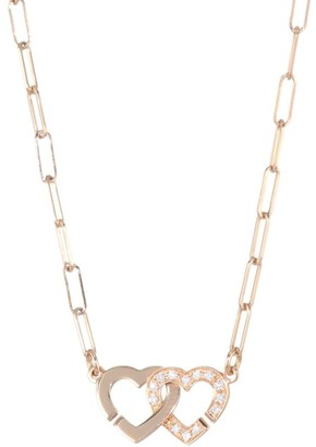 Dinh Van Double Coeurs Diamond &18K Rose Gold Chain Necklace