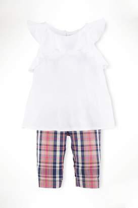 Ralph Lauren Childrenswear Ruffle-Top & Madras-Capri Set