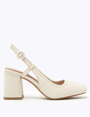 Marks and Spencer Leather Square Toe Slingback Shoes