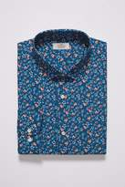 Mens Next Blue Slim Fit Single Cuff Floral Shirt