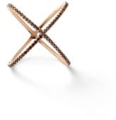 Eva Fehren X Ring with Black Diamonds