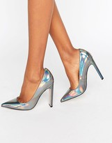 Paper Dolls Dulcina Gray Metallic Court Heels