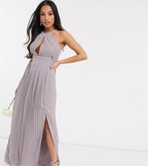 TFNC Petite Petite bridesmaid exclusive pleated maxi dress in grey