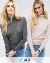Asos Sweater With High Neck In Rib 2 Pack