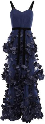 Marchesa Velvet-trimmed Floral-appliqued Tulle Gown