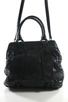Carlos Falchi Black Snakeskin Large Satchel Handbag