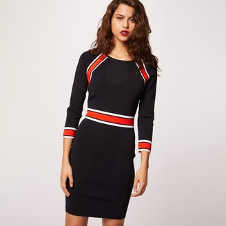 Morgan Bodycon Mini Dress with Boat Neck and 3/4-Length Sleeves