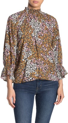 Cotton On Floral Mock Neck Ruffle Blouse