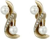 Oscar de la Renta Pave Wave Pearl Crawler C Earrings