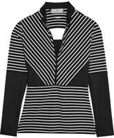adidas by Stella McCartney Studio Striped Cutout Stretch-jersey Top - Black