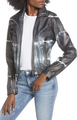 Blank NYC BLANKNYC High Collar Tie Dye Faux Leather Moto Jacket