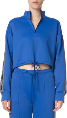 Kenzo Sport Cropped Zip-Front Logo Sweatshirt