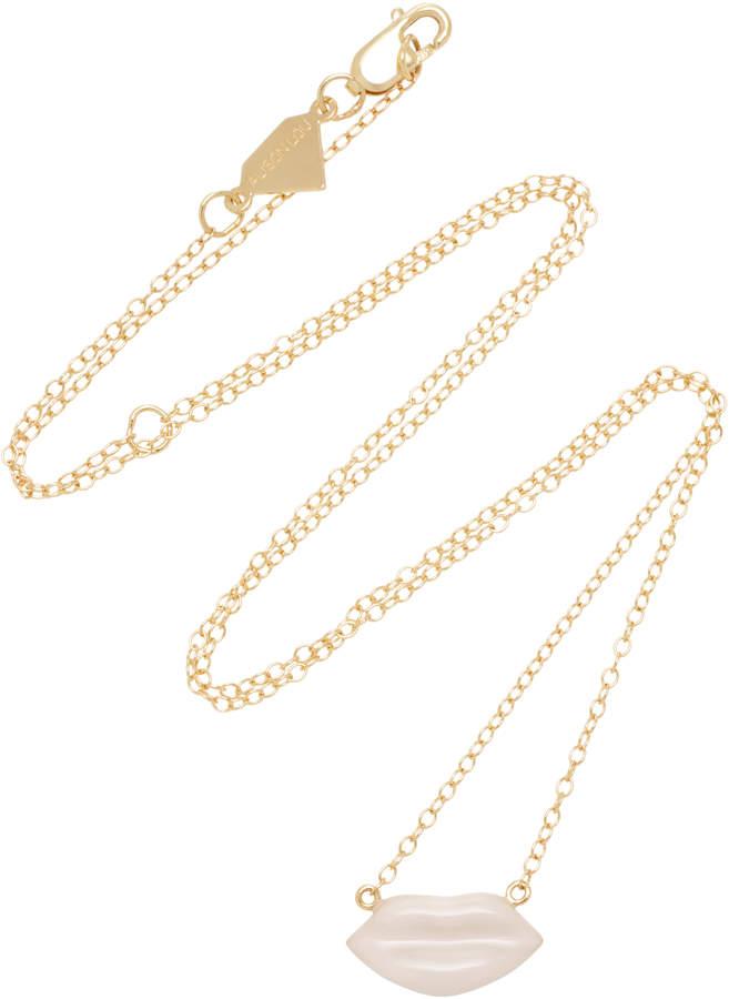 Alison Lou 14K Gold Enamel Pink Lip Necklace