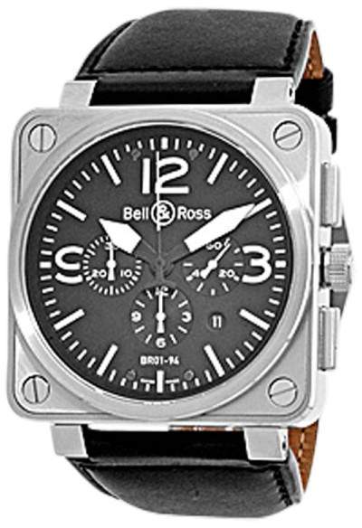 """Bell & Ross BR01-94"""" Stainless Steel Chronograph Mens Strap Watch"""