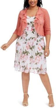 Connected Plus Size Floral-Print Chiffon Dress & Ruffled Shrug