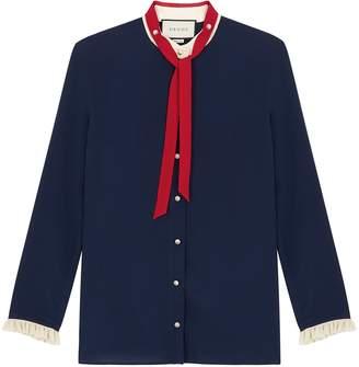 Gucci Navy Ruffle-trimmed Silk Shirt