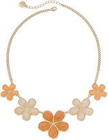 Liz Claiborne Oversized Peach Stone Gold-Tone Collar Necklace