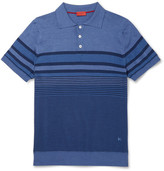 Isaia Striped Linen And Cotton-blend Polo Shirt