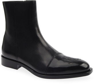 Roberto Cavalli Men's Cap-Toe Leather Zip Ankle Boots