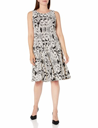 Sandra Darren Women's 1 PC Sleeveless All Over Printed ITY Puff Fit & Flare Dress
