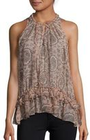 Elizabeth and James Paisley Print Sleeveless Silk Top