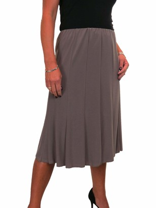 Icecoolfashion Women's Below Knee Midi Swing Flare Skirt Ladies Soft Stretch Sheen Fully Lined Panel Skirt Black 8-22 (L)