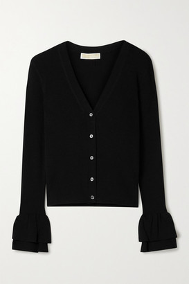 MICHAEL Michael Kors Ruffled Ribbed-knit Cardigan - Black