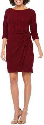Robbie Bee 3/4 Sleeve Glitter Knit Sheath Dress