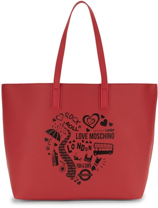Love Moschino Graphic Faux Leather Tote
