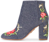 Aquazzura Lotus embroidered booties - women - Cotton/Leather - 35