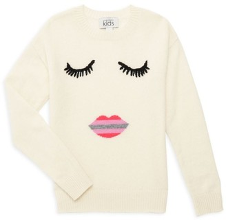 Autumn Cashmere Little Girl's & Girl's Ombre Lips Face Merino Wool & Cashmere Sweater