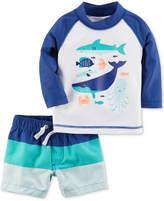 Carter's 2-Pc. Sea Creatures Rash Guard and Colorblocked Swim Trunks Set, Baby Boys