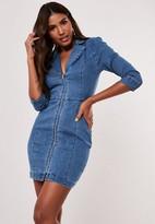 Missguided Deep Blue Tailored Zip Front Denim Dress