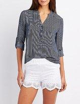 Charlotte Russe Striped Mandarin Collar Button-Up Shirt