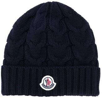 Moncler Enfant Logo Patch Beanie Hat