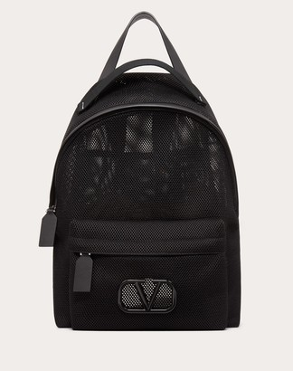 Valentino Garavani Uomo Backpack With Poetry Embroidery Man Black/pure Red Polyester 100% OneSize