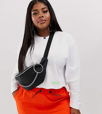 Asos DESIGN Curve ring chain fanny pack-Black
