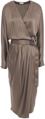 Brunello Cucinelli Bead-embellished Pleated Satin-crepe Midi Wrap Dress