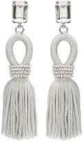Oscar de la Renta Oyster Short Crystal & Silk Tassel Earrings