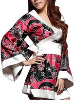 Unknown Mekoii Women's Satin Japan Kimono Floral Printing Nightgowns