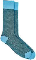 Barneys New York MEN'S GEOMETRIC-PATTERN COTTON-BLEND MID-CALF SOCKS