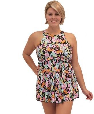 Fit 4 U Thighs High-Neck Babydoll Swim Dress
