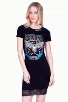 Select Fashion Fashion Womens Black Lace Trim Bandtee Bodycon Dress - size 6