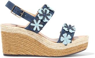 Castaner Rosana Floral-appliqued Suede Espadrille Wedge Sandals