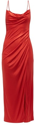 Galvan Mars Charmeuse Ruched Slip Dress - Red